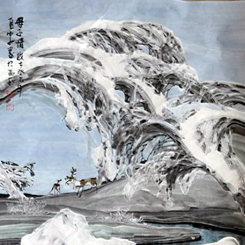 2010年参加内蒙古《阿尔山国际冰雪节画展》,《全国第二届画派作品展